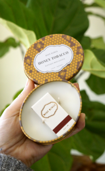 Honey Tobacco Travel Tin Candle