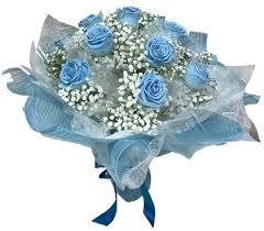 HONG KONG DOZEN BLUE ROSES 2 WRAPPED BOUQUET