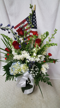 Honor vase of Red White and Blue  Vased of Red white and Blue  to honor a loved one who has served in the military