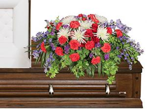 Honorable Dedication Casket Spray in Selma, NC | SELMA FLOWER SHOP