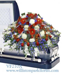 Honorable Veteran Funeral Casket Spray Funeral Flowers In Williston Park Ny Vogue Flowers