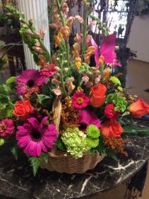 Colorful Summer Blooms Basket Arrangement