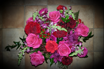 Hot Floral Mix Vased arrangement