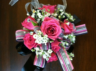 Hot Pink and Black Wristlet Corsage