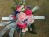 Hot pink and Light pink mini carnations Wrist Corsage