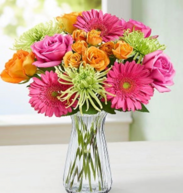Hot Pink And Lime Green Bouquet  Vase