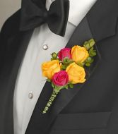 HOT PINK & YELLOW Boutonniere Select Colors
