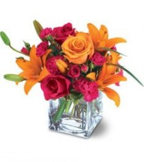 Hot Pink and Orange Cube Vase Arrangement SOLD OUT