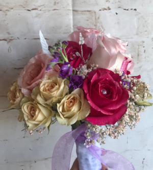 Hot pink and orchid semi flowers arrangement in Wilkes Barre, PA | Kelly Ann's Floral