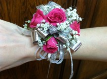 Hot Pink and Silver Wristlet Corsage