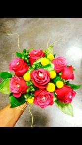 Hot pink and yellow Bouquet Wedding Bouquet, Hand tied
