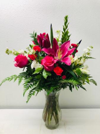 Hot Pink Beauty Vase Arrangement