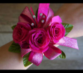 Hot Pink Delight  wrist corsage