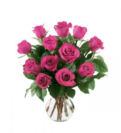 Hot Pink Dozen Roses
