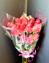 HOT PINK DOZEN ROSES Wrapped