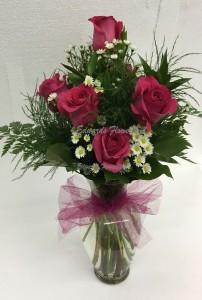 Hot Pink Half Dozen Rose arrangement All Occasion