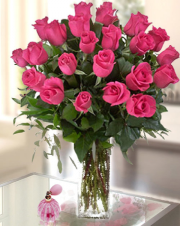 Hot Pink Lady Rose Arrangment
