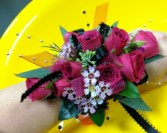 Hot pink Lady wrist corsage - large size