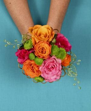 HOT PINK & ORANGE Handheld Bouquet in Ozone Park, NY | Heavenly Florist