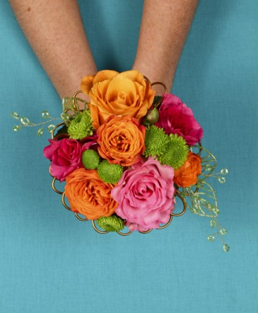 Hot pink orange handheld bouquet in liberty ky kathys flowers hot pink orange handheld bouquet mightylinksfo