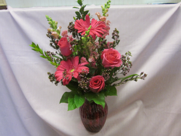 Hot Pink Perfection, $65.00 Hot Pink Vase, Local Delivery Only
