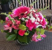Hot Pink Perfection  Cylindar Vase Arrangement