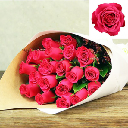 Available for Mother's Day HOT PINK!  Roses in Kraft Paper