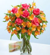 HOT PINK ROSE& ORANGE PERUVIAN LILY BOUQET