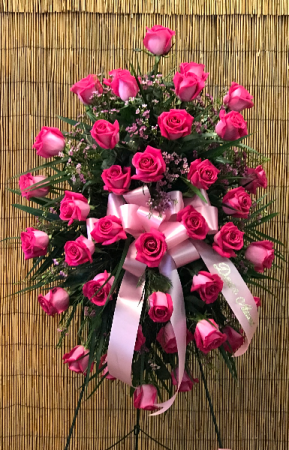 Hot Pink Rose Tribute Standing Spray