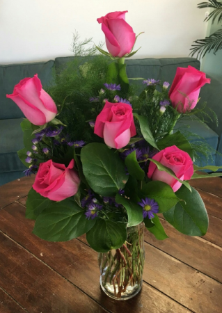 Hot Pink Roses Arrangement