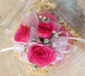 Hot Pink Roses & White Corsage