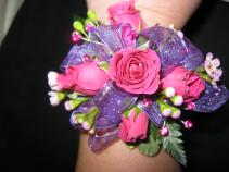 Hot Pink Spray Rose Wristlet Prom