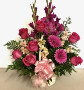 Hot Pink Sympathy Basket Funeral Basket