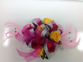 Hot Pink & Yellow Rose Wrist Corsage