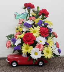 Hot Rodin' In Ford Mustang Fresh Floral Keepsake (Local Only)