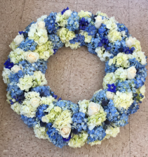 Hues of Blue and White Wreath Wreath Standing Spray