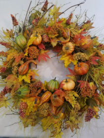 Huge gourd wreath ARTIFICIAL...ONLY ONE AVAILABLE