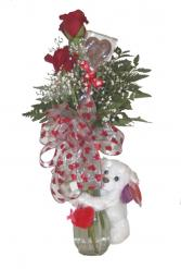 Hugger Bear with Roses Two roses with a Hugger Bear
