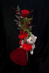Huggie Bear Vase and Chocolates rose and chocolates