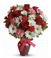 HUGS AND KISSES BOUQUET WITH RED ROSE VASE ARRANGE