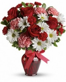Hugs and Kisses Bouquet with Red Roses ---