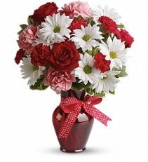 Hugs and Kisses Bouquet with Red Roses floral arrangement