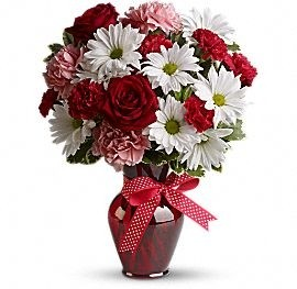 HUGS AND KISSES BOUQUET WITH RED ROSES FLOWERS ARRAGEMENT