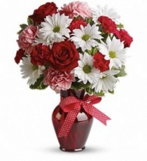 Hugs and Kisses Bouquet with Red Roses  Fresh Arrangement