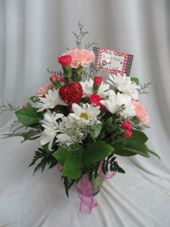 Hugs and Kisses Fresh Mixed Vased Arrangement