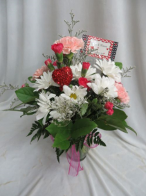 Hugs and Kisses Mixed Fresh Vased Arrangement