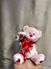 Hugs And Love To You Bear with Hearts and Silk Flower Bouquet