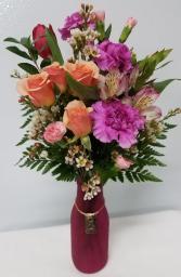Hugs & Kisses Charm Bouquet Floral in Matte Vase w/Charm