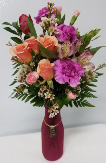 Hugs & Kisses Charm Bouquet Floral in Matte Vase w/Charm