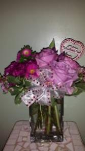 Hugs N Kisses  Rectangular Vase Valentine's Day Flowers